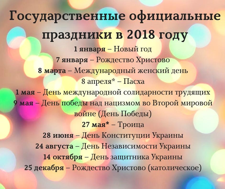 Все праздники лета 2018 года